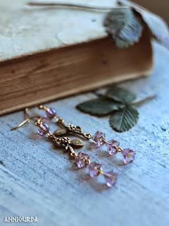 украшения, бижутерия, серьги, весенние серьги, лиловый, золото