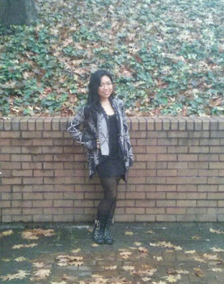ootd knit cardigan black skirt