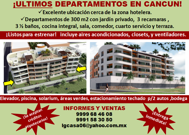 Departamentos de lujo 300m2 en cancun centro directorio for Mueblerias en cancun mexico