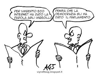 umberto eco, internet, imbecilli, satira, vignetta