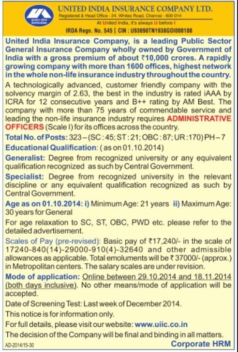 United India Insurance Recruitment 2014 Apply Online - 684 ...