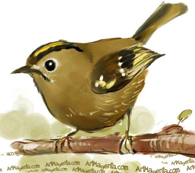En  fågelmålning av en Kungsfågel  från Artmagentas svenska galleri om fåglar.