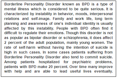border personality disorder