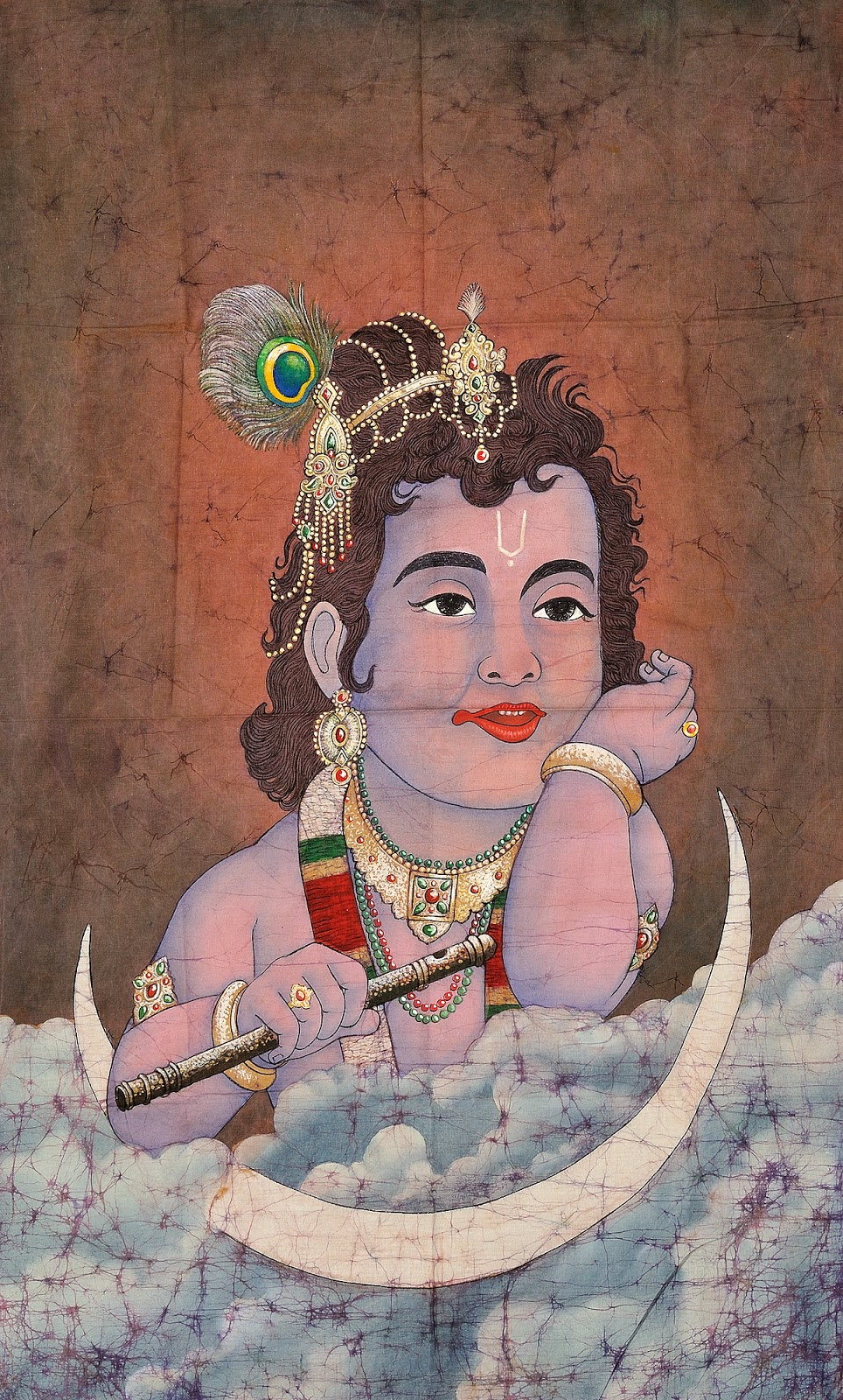 Baby  Krishna image with clouds and moon