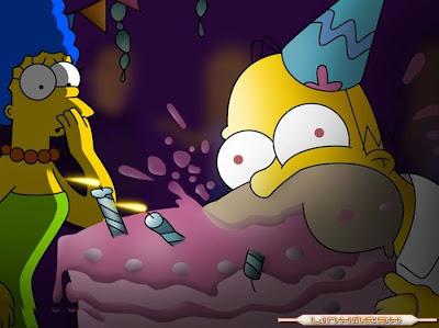 Homer Simpson con tarta