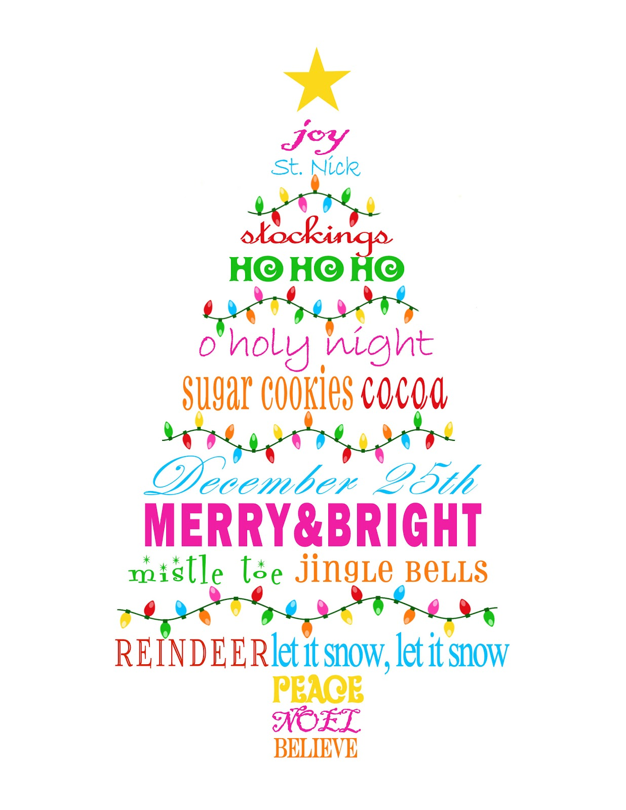 merry bright christmas tree subway art printable - Merry And Bright Christmas Decorations