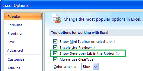 Tab Developer Excel