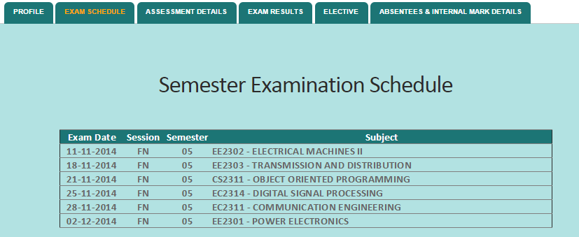 Anna university controller of examinations to check the for Rdvv 5th sem time table