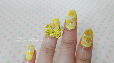 Vitamin C Nails! Yellow Heart Ribbon nail art