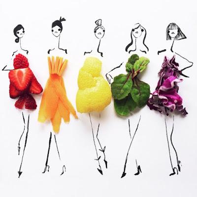 Ilustrasi Fashion dari Bahan Makanan Ini Keren Banget