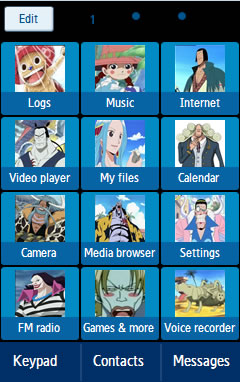 Samsung GT-C6712 One Piece Anime Theme 1 Free Download Menu
