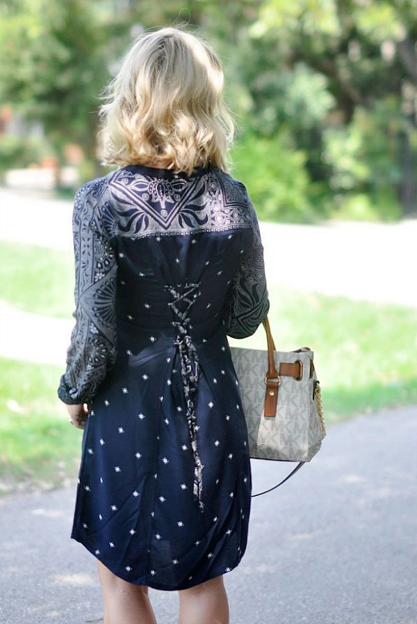 Fall Fashion - plaid shirt dress and booties