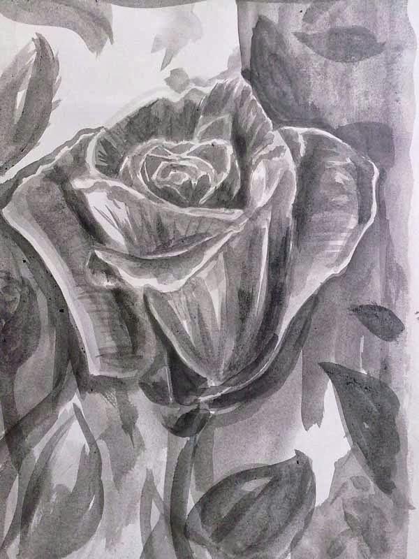 copia de una foto de una rosa con tinta