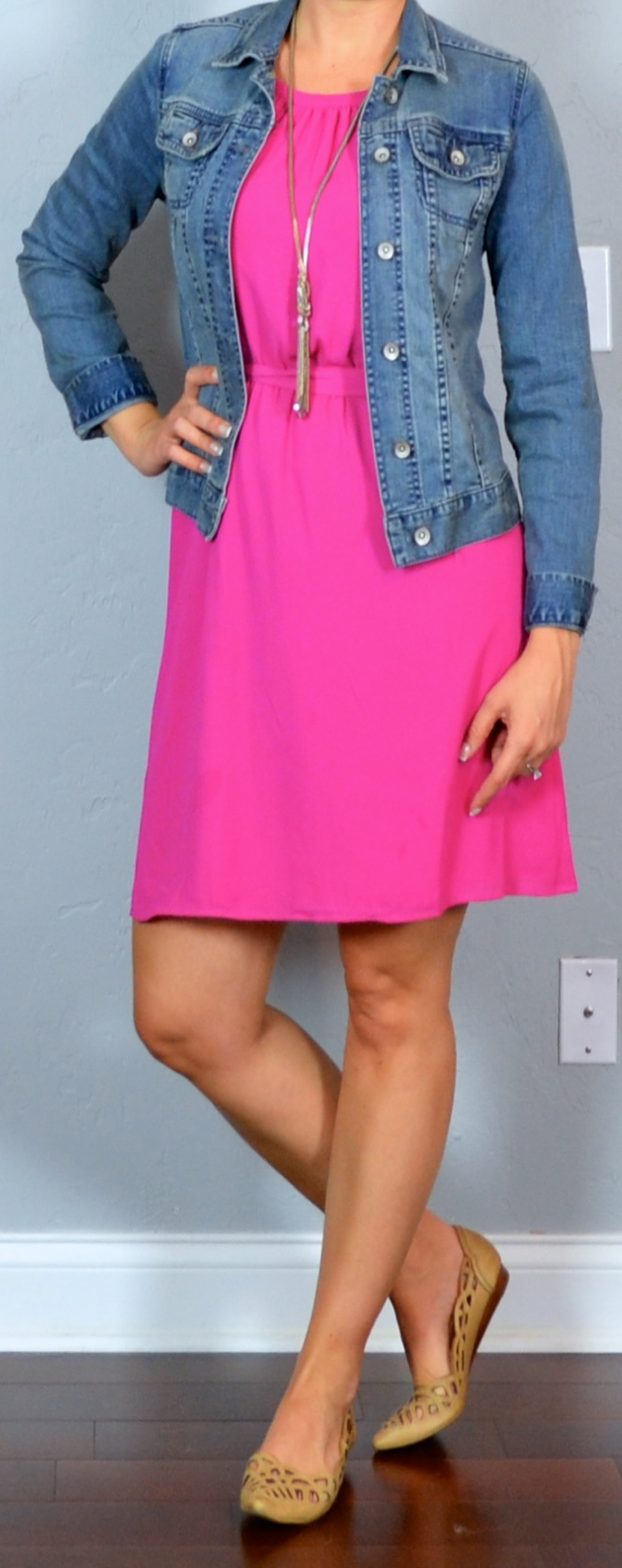 Outfit Post Hot Pink Dress Jean Jacket Nude Cutout Flats | Outfit Posts