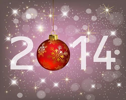 Fondo 2014 con bola navideña - Vector