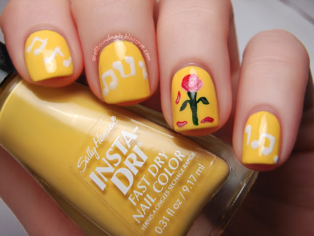 Disney nail art Challenge Beauty and the Beast yellow Sally Hansen Lightening music notes white rose magic magical wilting Princess nails Spellbound