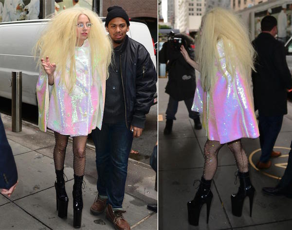 Shining white, pink, green colors  of her coat and big blond hair when she left sirus XM Radio studio.