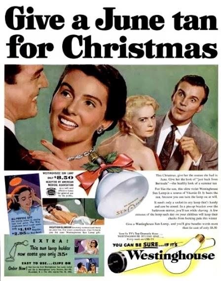 Propaganda da lâmpada para bronzear da Westinghouse em 1952.