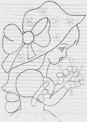 desenho de boneca com chapeu e flores para pintar em pano de copa e colocar saia de croche
