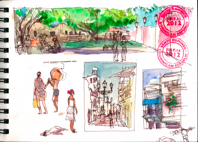 "Shiho Nakaza ""Santo Domingo"" ""Dominican Republic"" Sketch watercolor pen ""Urban Sketchers"""