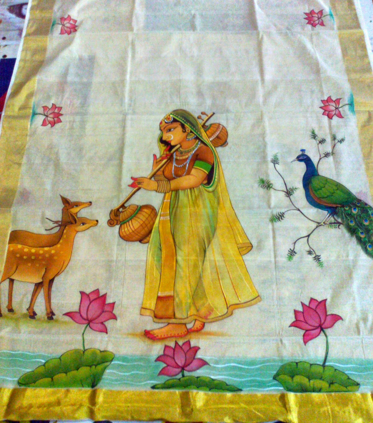 Varnachithra sarees new designs for Aithihya mural painting fabrics