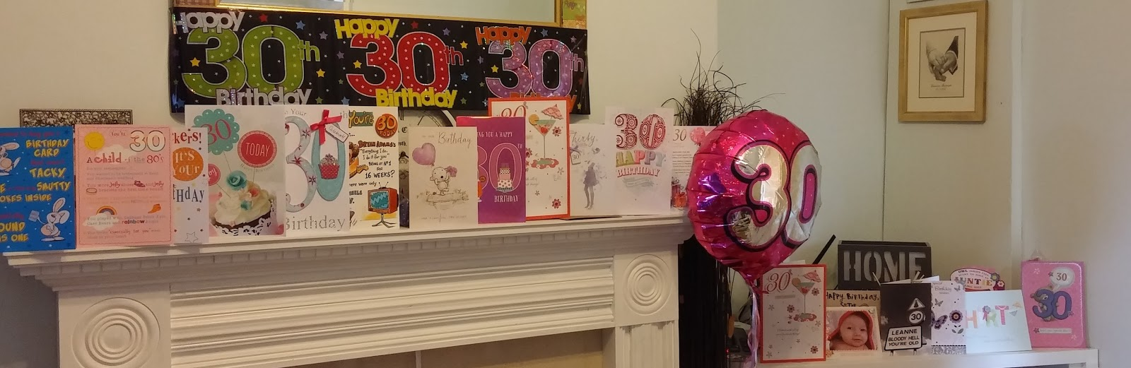 30th birthday cards banners and helium balloon