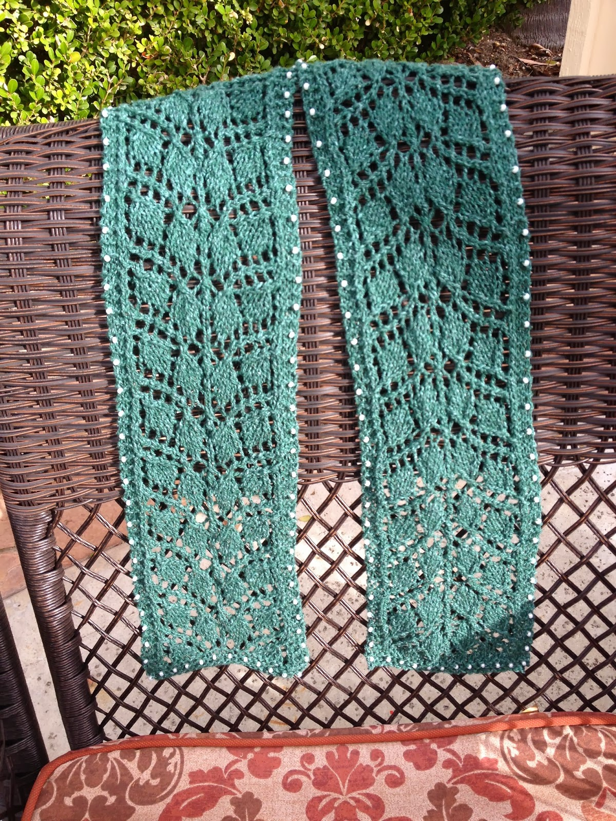 Lilly My Cat: Knitted Lacy Leaf Scarf with Beads