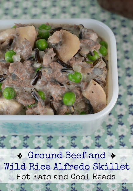 Such a hearty and delicious 30 minute meal! Also great with ground chicken or turkey! Ground Beef and Wild Rice Alfredo Skillet Recipe from Hot Eats and Cool Reads
