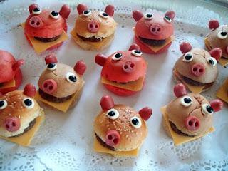 minihamburguesas con forma de cerditos para niños
