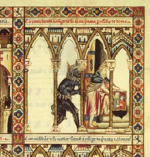 """Esta imagen pertenece al llamado """"Códice Rico"""" de las Cantigas de Santa María. En el se observa como un judio tira la imagen de La Virgen por un retrete. Más allá de los estereotipos, el interés de esta imagen reside en la presencia de la tréstiga en el siglo XIII."""
