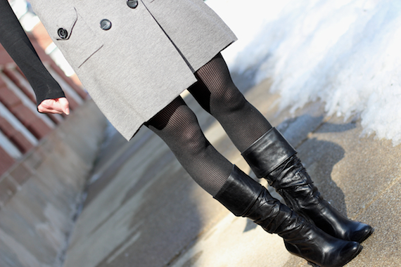 Black Striped Tights, Boots, Gray Dress | StyleSidebar