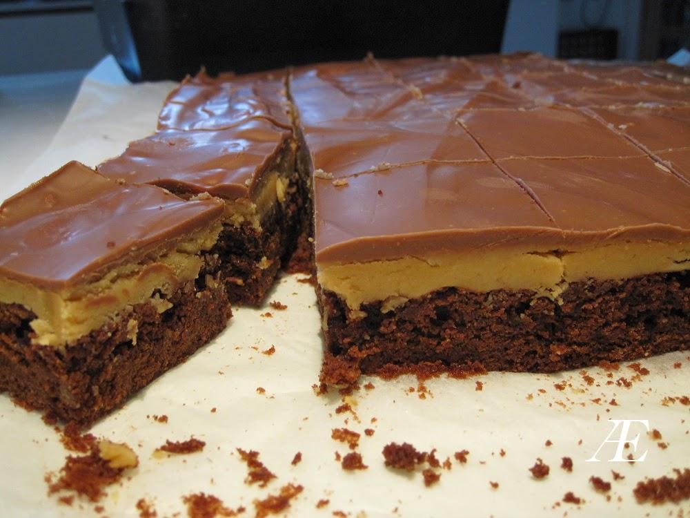 opskrift på peanut butter buckeye brownies oversat til dansk