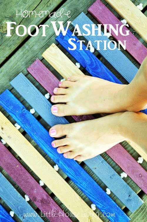 Homemade Foot Washing Station, shared by Little House Living
