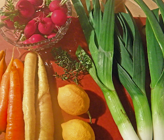Whole Leeks, Radishes, Carrots, and Lemons