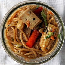 Sesame Noodle Salad with Ginger Tofu Cubes