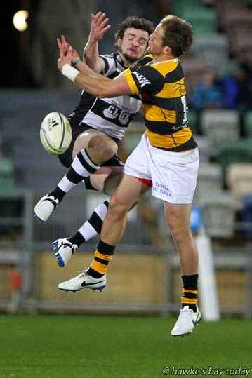 Left: Richard Buckman, Hawke's Bay Magpies, rugby vs Taranaki at McLean Park, Napier. Magpies won 29-26 photograph