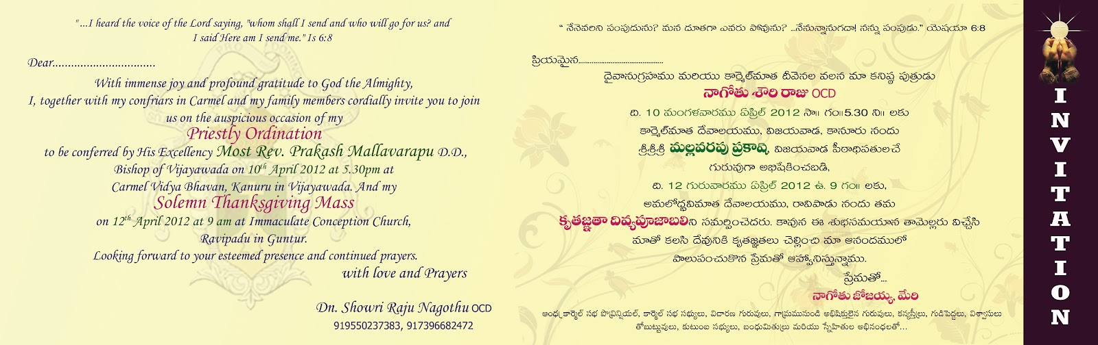 Telugu Sangham Rome Italy Invitation to Priestly Ordination
