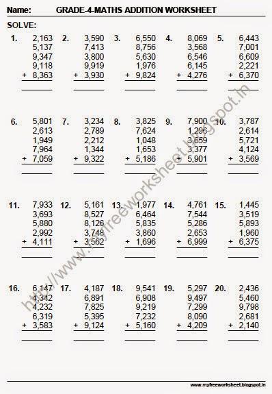 Worksheets Pdf Math Worksheets math worksheets pdf grade 3 free printable addition 4 digit free