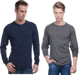 Buy The Collarless Shirt: Henleys Shirt At Flat 50 OFF +Extra 50% OFF in cart + Extra 15% OFF at Fashionandyou