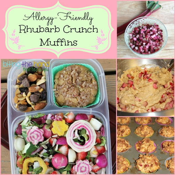 Allergy-Friendly Rhubarb Crunch Muffins - gluten, dairy, egg, and nut free (vegan)