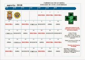 FARMACIAS DE GUARDIA AGOSTO 2014