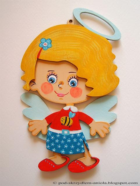 malowany drewniany aniołek dziewczynka personalizowany