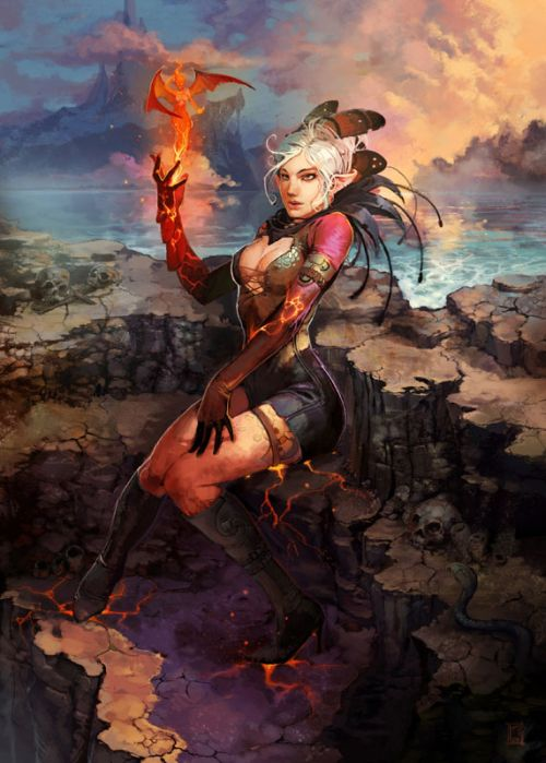 Marc Brunet bluefley deviantart ilustrações fantasia mulheres Espírito de fogo