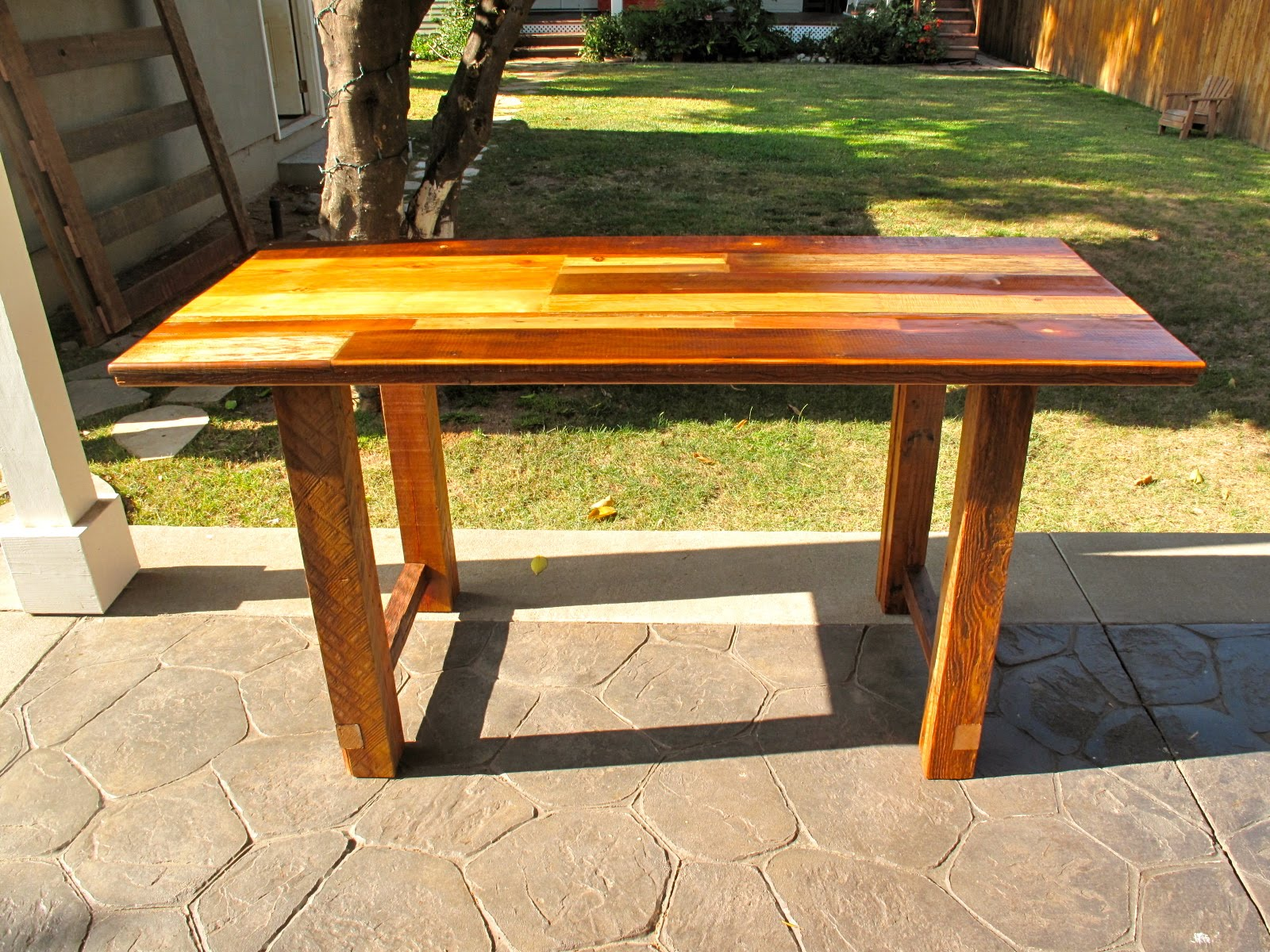 Arbor Exchange Reclaimed Wood Furniture Patchwork Kitchen Work Table - Reclaimed wood work table