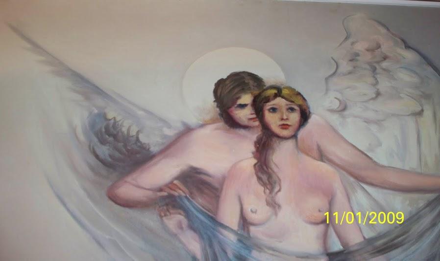 """Νότα Κυμοθόη """"Ο έρως ή Ο άγγελος της ζωής"""" Ελαιογραφία σε μουσαμά"""