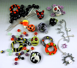 Kim and Joan's Halloween kit with porcelain beads and charms.