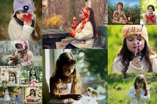 Tributo a la infancia VII (fotos de niñas, flores y mascotas)