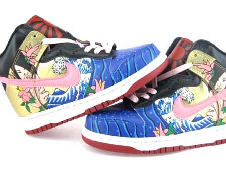 Nike Dunk Mermaid High Tops Shoes For Woman Gold Pink Blue Black