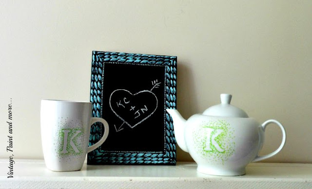 Vintage, Paint and more... plain teapot and mug personalized with a sharpie marker and a small thrifted frame diy'd into a chalkboard