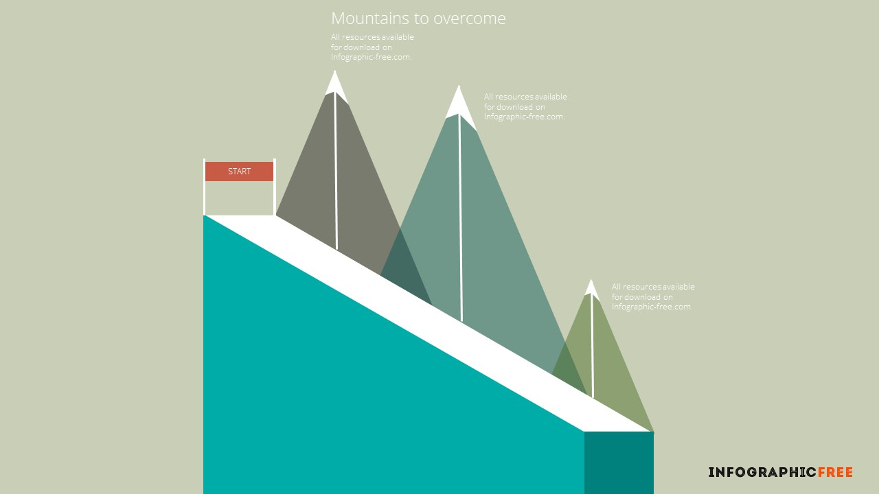 flat design mountains to overcome section titles - infographicon, Powerpoint templates